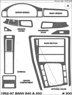 1994 BMW 8-Series Dash Kit Shadow Sheet