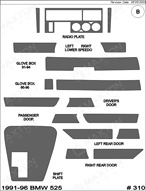 1995 BMW 525 Dash Kit Shadow Sheet