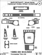 1991 Porsche 944 Dash Kit Shadow Sheet