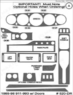 1991 Porsche 911 Dash Kit Shadow Sheet