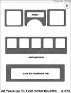 1996 Jeep Wrangler Dash Kit Shadow Sheet