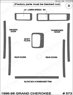 1997 Jeep Grand Cherokee Dash Kit Shadow Sheet