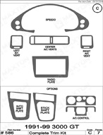1995 Dodge Stealth Dash Kit Shadow Sheet