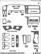 2002 Mitsubishi Montero_Sport Dash Kit Shadow Sheet
