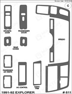 1992 Ford Explorer Dash Kit Shadow Sheet