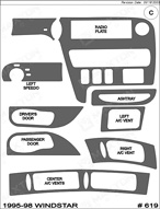 1997 Ford Windstar Dash Kit Shadow Sheet