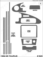 1995 Ford Taurus Dash Kit Shadow Sheet