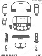 2000 Ford Escape Dash Kit Shadow Sheet