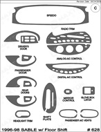 1997 Mercury Sable Dash Kit Shadow Sheet