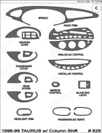 1996 Ford Taurus Dash Kit Shadow Sheet