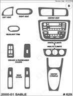 2000 Ford Taurus Dash Kit Shadow Sheet