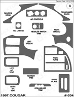 1998 Mercury Cougar Dash Kit Shadow Sheet