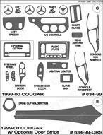 1999 Mercury Cougar Dash Kit Shadow Sheet
