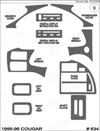 1995 Ford Thunderbird Dash Kit Shadow Sheet