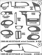 1995 Mercury Mystique Dash Kit Shadow Sheet