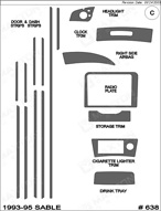 1995 Mercury Sable Dash Kit Shadow Sheet