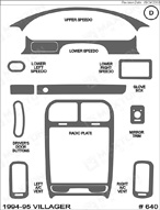 1994 Mercury Villager Dash Kit Shadow Sheet
