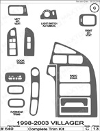 2003 Mercury Villager Dash Kit Shadow Sheet