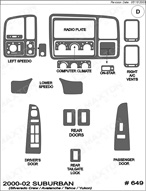 2002 Chevrolet Tahoe Dash Kit Shadow Sheet