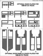 1988 Chevrolet C/K Truck Dash Kit Shadow Sheet