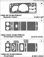 1997 Chevrolet Suburban Dash Kit Shadow Sheet