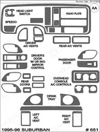 1996 Chevrolet Suburban Dash Kit Shadow Sheet