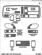 1998 Chevrolet C/K Truck Dash Kit Shadow Sheet