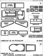 1995 Chevrolet S-10 Dash Kit Shadow Sheet