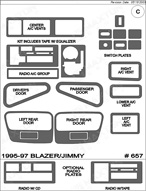 1995 Chevrolet Blazer Dash Kit Shadow Sheet