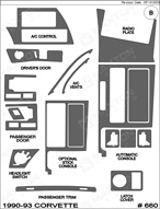 1993 Chevrolet Corvette Dash Kit Shadow Sheet