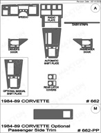 1984 Chevrolet Corvette Dash Kit Shadow Sheet