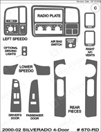 2002 Chevrolet Silverado Dash Kit Shadow Sheet