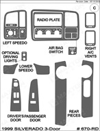 1999 Chevrolet Silverado Dash Kit Shadow Sheet