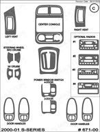 2001 Saturn S-Series Dash Kit Shadow Sheet