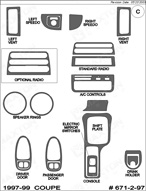 1997 Saturn SC Dash Kit Shadow Sheet