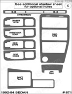 1992 Saturn SL Dash Kit Shadow Sheet