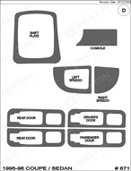 1995 Saturn SL Dash Kit Shadow Sheet