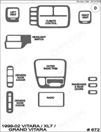 1999 Suzuki Grand Vitara Dash Kit Shadow Sheet
