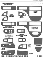 1995 Pontiac Bonneville SSE Dash Kit Shadow Sheet