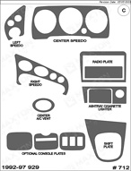 1995 Mazda 929 Dash Kit Shadow Sheet