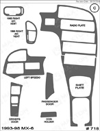 1995 Mazda MX-6 Dash Kit Shadow Sheet
