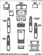 2002 Toyota Avalon Dash Kit Shadow Sheet