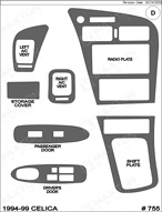 1999 Toyota Celica Dash Kit Shadow Sheet