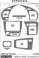 1991 Toyota Celica Dash Kit Shadow Sheet