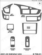 2003 Toyota Sienna Van Dash Kit Shadow Sheet