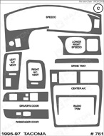 1996 Toyota Tacoma Dash Kit Shadow Sheet
