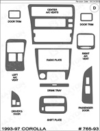 1993 Toyota Corolla Dash Kit Shadow Sheet