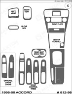 1998 Honda Accord Dash Kit Shadow Sheet