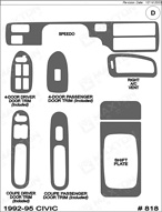 1992 Honda Civic Dash Kit Shadow Sheet