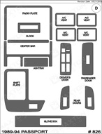 1994 Honda Passport Dash Kit Shadow Sheet